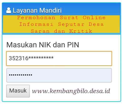 Permintaan PIN untuk Layanan Mandiri